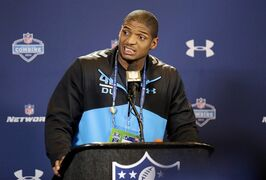 FILE - In this Feb. 22, 2014, file photo, Missouri defensive end Michael Sam speaks during a news conference at the NFL football scouting combine in Indianapolis. Michael Sam says there are