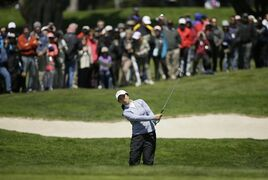 Sei Young Kim, of South Korea, chips the ball up to the ninth green of the Lake Merced Golf Club during the second round of the Swinging Skirts LPGA Classic golf tournament Friday, April 24, 2015, in Daly City, Calif. (AP Photo/Eric Risberg)
