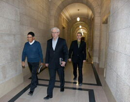 Premier Greg Selinger, NDP president Ovide Mercredi (left) and Paul McKie, whose secondment has raised questions of close union ties to the government.