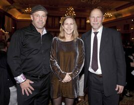 The Mood Disorders Association of Manitoba held its annual In the Mood gala at the Fort Garry Hotel on Feb. 21, 2015. The event honours individuals who have helped raise awareness about mental health issues. Pictured, from left, are Helping Hand Award winners Chris Burns, Miriam Toews and Dr. Randy Goossen.