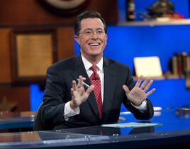In this Sept. 8, 2010 photo released by Comedy Central, host Stephen Colbert appears during the