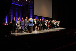 WSO sponsors who took part in the Adopt-A-Musician program are congratulated onstage Saturday night.