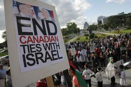 Palestinian supporters hold a peaceful rally at the Manitoba Legislature Monday, July 14, 2014.