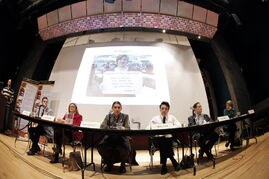 photos by john woods / winnipeg free press Mayoral candidates Brian Bowman (from left), Paula Havixbeck, Robert-Falcon Ouellette, Michel Fillion, David Sanders  and Judy Wasylycia-Leis speak at a debate Tuesday at the University of Winnipeg on the future of food.