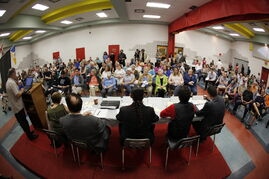 Judy Wasylycia-Leis, David Sanders, Robert-Falcon Ouelette, Michel Fillion and Brian Bowman attended a mayoral forum at the North Centennial Community Centre Tuesday, where transit, poverty and housing were the topics of the night.