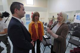 Winnipeg South MP Rod Bruinooge, RWB's Arlene Minkhorst, and Anna Marie Holmes, a guest teacher for RWB, at the Royal Winniepg Ballet funding announcement.