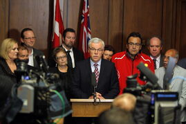 Premier Greg Selinger announced Tuesday that he has no intention of stepping down and plans to lead the NDP into the next provincial election.