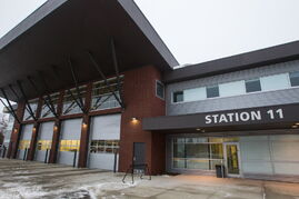 Front of the new Winnipeg Fire Paramedic Service Station 11 at Portage Avenue and Route 90.