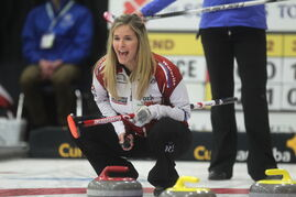 Jennifer Jones watches her rock during play against Fordyce at the Scotties Tournament of Hearts in Winkler Wednesday.