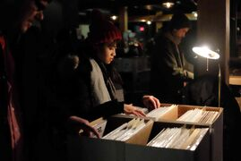 Maricar Remoto was among a steady stream of vinyl lovers browsing through the offerings at the Central City Record Show at Union Sound Hall Sunday afternoon.