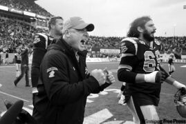 ABOVE: Bombers head coach Paul LaPolice celebrates after the final whistle Saturday. (MIKE DEAL / WINNIPEG FREE PRESS)