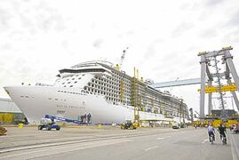 Royal Princess under construction at Fincantieri shipyard in Italy.
