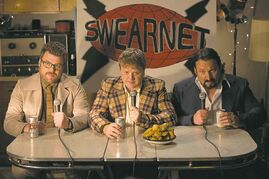 From left, Robb Wells, Mike Smith and Jean Paul Tremblay play themselves, sort of, in SwearNet.