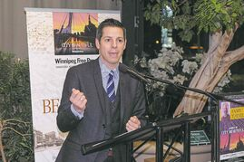 Winnipeg Mayor Brian Bowman talks during the launch of the Winnipeg Free Press book City Beautiful at McNally Robinson earlier this month.