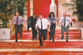 Paul Blart (Kevin James) with, from left, Gino Chizetti (Vic Dibitetto), Khan Mubi (Shelly Desai), Donna Ericone (Loni Love) and Saul Gundermutt (Gary Valentine) do a little aerobics instead of comedy.