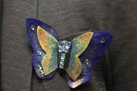 Butterflies, designed by aboriginal artist Jackie Traverse, representing missing and murdered aboriginal women and children in Canada were worn by many in attendance.