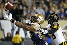 Winnipeg Blue Bombers' Cory Watson (81) can't haul in the two-point conversion pass in front of Hamilton Tiger-Cats in Winnipeg in September.