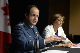 Gen. Tom Lawson, chief of the defence staff, at a news conference with Marie Deschamps, a former Supreme Court justice and author of an inquiry into sexual misconduct.