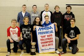 The Calvin Christian Collegiate varsity men's volleyball team came home with the provincials banner this year. Back row (l-r): Riley Bouwman, Zach Haaksma, Jordan Davis, Kyle Reenders, and Donovan Turner. Front Row (l-r): Austin Dueck, Brandon Vaags, Dalon Hordyk, Matthew Ginter, and Ian Regier.