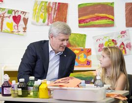 Prime Minister Stephen Harper does arts and crafts with a student at the Joseph and Wolf Lebovic Jewish Community Campus in Vaughan, Ont., in 2014.