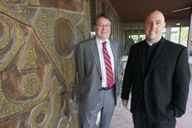 Christopher Adams, left, rector of St. Paul's College, and Rev. Jeffrey Burwell, director of the Jesuit Centre of Catholic Studies.