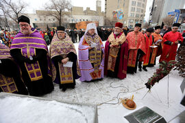 Clergy members honour those who died during the Soviet-inflicted Holodomor in Ukraine in 1932-33. The ceremony at city hall Saturday drew many descendants of those who survived the famine.