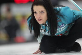 Kerri Einarson directs her teammates after throwing a rock against Janet Harvey Friday night during the Scotties in Winkler.