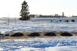 Four fresh mounds of dirt lay next to each of other for the four Froese boys in the late afternoon at the Lowe Farm Cemetery Wednesday after they were laid to rest earlier in the day before their funeral in Winkler.