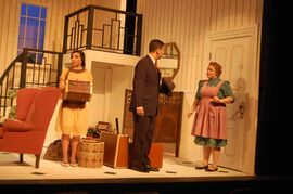 From left, Rowan Gannon, Ian Bastin and Carly Nicole Winthrop in Hay Fever.