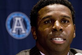 Toronto Argos Mike (Pinball) Clemons speaks at a news conference in Toronto, Tuesday Dec.4, 2007. RCMP say Clemons will be getting his Grey Cup ring back after it was taken by a woman at B.C. Place Stadium during the Toronto Argonauts game against the Lions on Friday.THE CANADIAN PRESS/Adrian Wyld