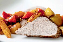 Cinnamon-Spice Pork Tenderloin With Roasted Root Vegetables.