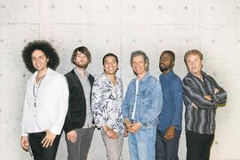 From left, Carlitos Del Puerto, Charles Altura, Luisito Quintero, Chick Corea, Marcus Gilmore and Tim Garland.