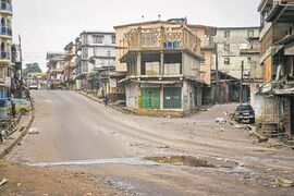 Streets in Freetown are nearly deserted as the Sierra Leone  government enforces  a three-day lockdown on movement of all people in an  attempt to fight the Ebola virus.