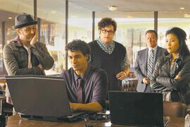 From left, Eddie Kaye Thomas, Elyes Gabel, Ari Stidham, Robert Patrick and Jadyn Wong in Scorpion.