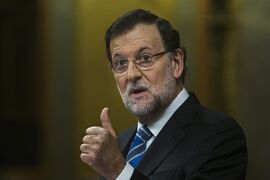 Spain's Prime Minister Mariano Rajoy gestures during a state of the nation debate at the Spanish Parliament in Madrid, Spain, Tuesday, Feb. 24, 2015. Prime Minister Mariano Rajoy says Spain's economy will grow by a better than expected 2.4 percent in 2015, claiming it as strong evidence that the country has emerged from the severe economic crisis. Opening the annual state of the nation debate Tuesday, Rajoy said Spain had moved from the edge of the abyss to being the eurozone country with the highest growth and job creation. Rajoy had last predicted the economy would grow by 2 percent in 2015, a year in which he faces general elections. (AP Photo/Andres Kudacki)
