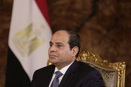 Egyptian President Abdel-Fattah el-Sissi listens during an interview with The Associated Press at the presidential palace in Cairo, Saturday, Sept. 20, 2014. In his first interview with foreign media since taking office in June, el-Sissi has told AP he is prepared to give whatever support is needed in the fight against the Islamic State group but says military action is not the only answer. (AP Photo/Maya Alleruzzo)