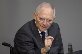 German Finance Minister Wolfgang Schaeuble speaks at the German parliament, the Bundestag in Berlin on Friday, Feb. 27, 2015. The Bundestage will decide Friday about extension of financial help for Greece. (AP Photo/Axel Schmidt)