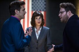 This photo provided by Columbia Pictures - Sony shows, from left, James Franco, as Dave, Lizzy Caplan as Lacey, and Seth Rogen, as Aaron, in Columbia Pictures'