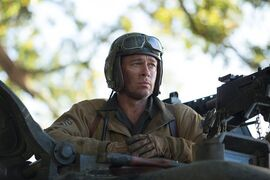 "This photo released by Sony Pictures Entertainment shows Brad Pitt as Sgt. Don ""Wardaddy"" Collier in Columbia Pictures'"
