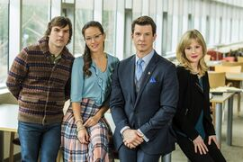 "This photo provided by Hallmark Channel shows, from left, Geoff Gustafson (""Norman Dorman""), Crystal Lowe (""Rita Haywith""), Eric Mabius (""Oliver O'Toole) and Kristin Booth (""Shane McInerny""), on the set of the TV series,"