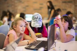 Students attend the Girls Learning Code computer workshop in Toronto on Wednesday July 16, 2014. THE CANADIAN PRESS/Chris Young
