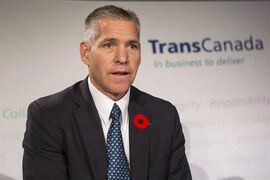TransCanada's President and CEO Russ Girling says he doesn't see the oil industry's appetite for new pipelines faltering even though crude prices have skidded recently to the lowest in more than five-years. Girling is shown at a news conference in Toronto on Thursday, October 30, 2014. THE CANADIAN PRESS/Chris Young