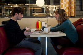 Daniel Radcliffe plays Wallace and Zoe Kazan stars as Chantry in a scene from THE F WORD in this undated handout photo. When the Canadian-made romantic comedy