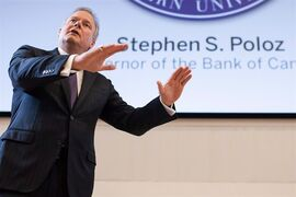 Bank of Canada Governor Stephen Poloz delivers a speech to students and business leaders at Western University's Ivey School of Business in London, Ont. on Tuesday, Feb. 24, 2015. The Bank of Canada is holding its key interest rate at 0.75 per cent - for at least another month. THE CANADIAN PRESS/ Mark Spowart