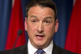 Canadian Natural Resources Minister Greg Rickford speaks about Keystone XL pipeline during a news conference at the Canadian Embassy in Washington, Wednesday, Jan. 14, 2015. The federal and Ontario government will spend more than $785,000 to allow First Nations in the so called Ring of Fire region to do a study on establishing a year-round transportation corridor in the region. Rickford and Ontario Northern Development Minister Michael Gravelle made the announcement at a mining conference in Toronto today. THE CANADIAN PRESS/ AP/Jacquelyn Martin