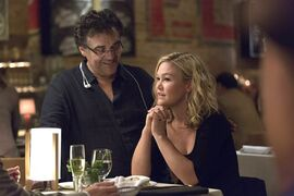 Writer-director Rodrigo Garcia with actor Julia Stiles on the set of the series