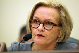 Sen. Claire McCaskill, D-Mo., questions witnesses at the Senate Commerce, Science and Transportation Subcommittee on Consumer Protection, Product Safety and Insurance on Tuesday, Sept. 16, 2014 on Capitol Hill in Washington. (AP Photo/Lauren Victoria Burke)
