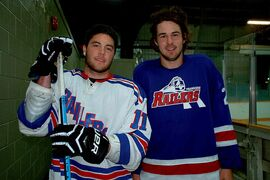 Transcona Railer Express captain Greg Myall (left) and forward Dane Mistelbacher are pictured in a file photo from September. Both players have been sidelined with injuries recently, but hope to be back out on the ice soon.