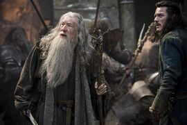 From left, Ian McKellan as Gandalf and Luke Evans as Bard in the fantasy adventure