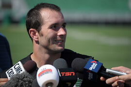 Saskatchewan Roughriders receiver Weston Dressler speaks to reporters after practice at Mosaic Stadium in Regina, Saskatchewan on Thursday, August 28.
